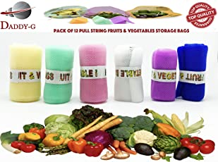 Daddy G Set Of 6 Multi-Purpose Pull String Mesh Fridge Vegetable Storage Bags Pack Of 2 ( 12 Bags )