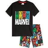 Marvel Pijama Niño Verano, Pijama Niño Corto de Los Vengadores Iron Man Capitan America Hulk y Thor, Ropa Niño 100% Algodon,