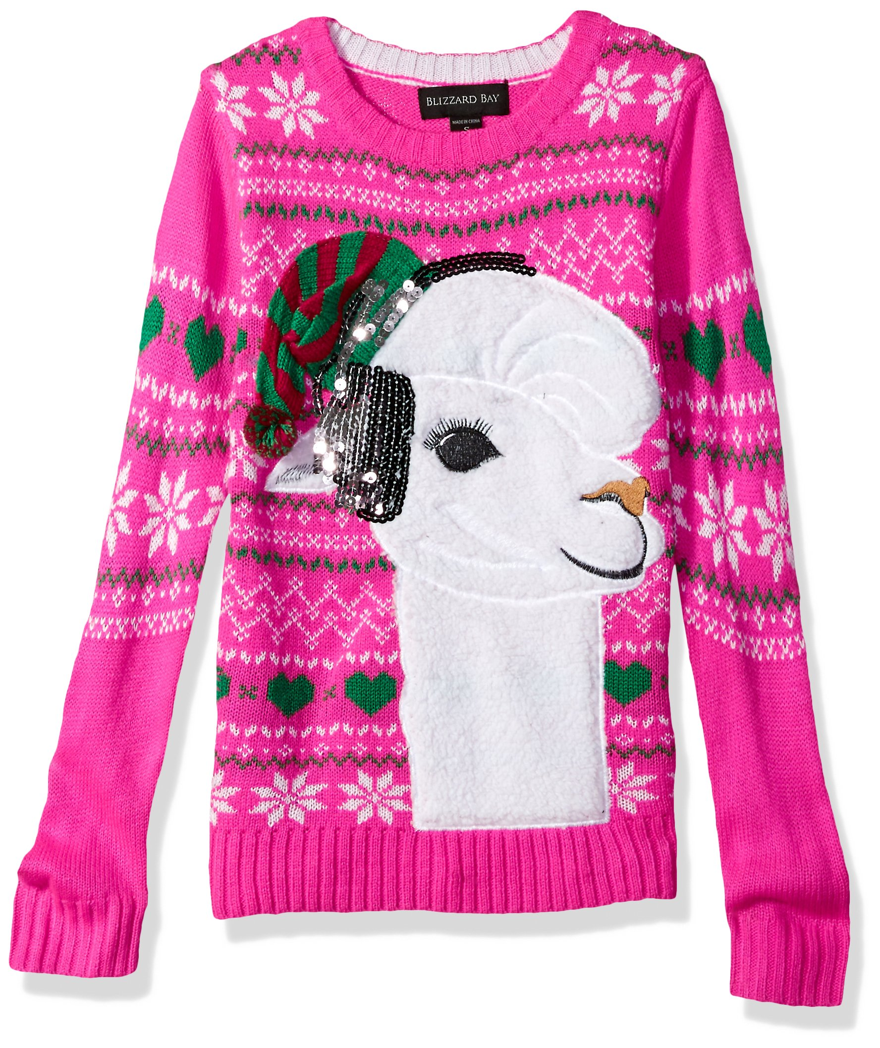 Llama Christmas Sweater.Blizzard Bay Girls Fuzzy Llama W Sequin Big Girl Xmas Sweater Pullover Sweater Christmas Jumpers Uk