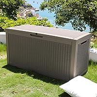 SKYLANTERN Coffre de Jardin Exterieur 380L Gris Effet Tressé - Caisse de Rangement en Plastique - Coffre de Rangement…