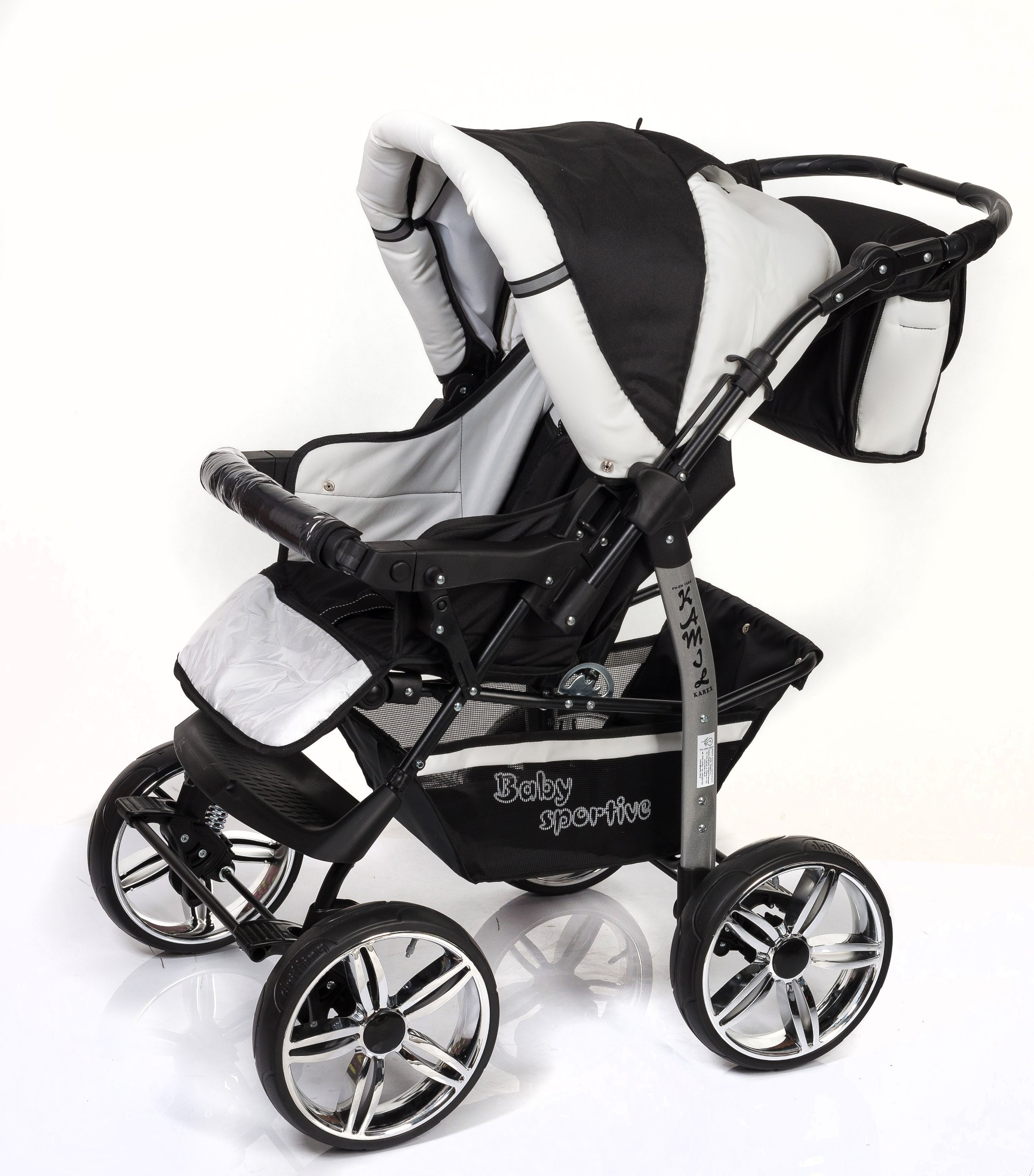 3-in-1 Travel System with Baby Pram, Car Seat, Pushchair & Accessories, Black & White   4