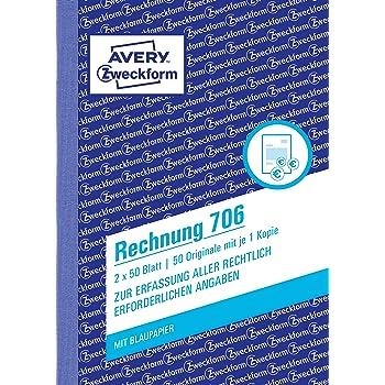 avery zweckform 704 rechnung a5 mit 1 blatt blaupapier. Black Bedroom Furniture Sets. Home Design Ideas
