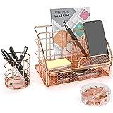 icyant Rose Gold Desktop Organizer, Mesh Multi-Use Metal Desktop Accessories with Drawer/Pen Holder/Binder Clips/Paper Clips/
