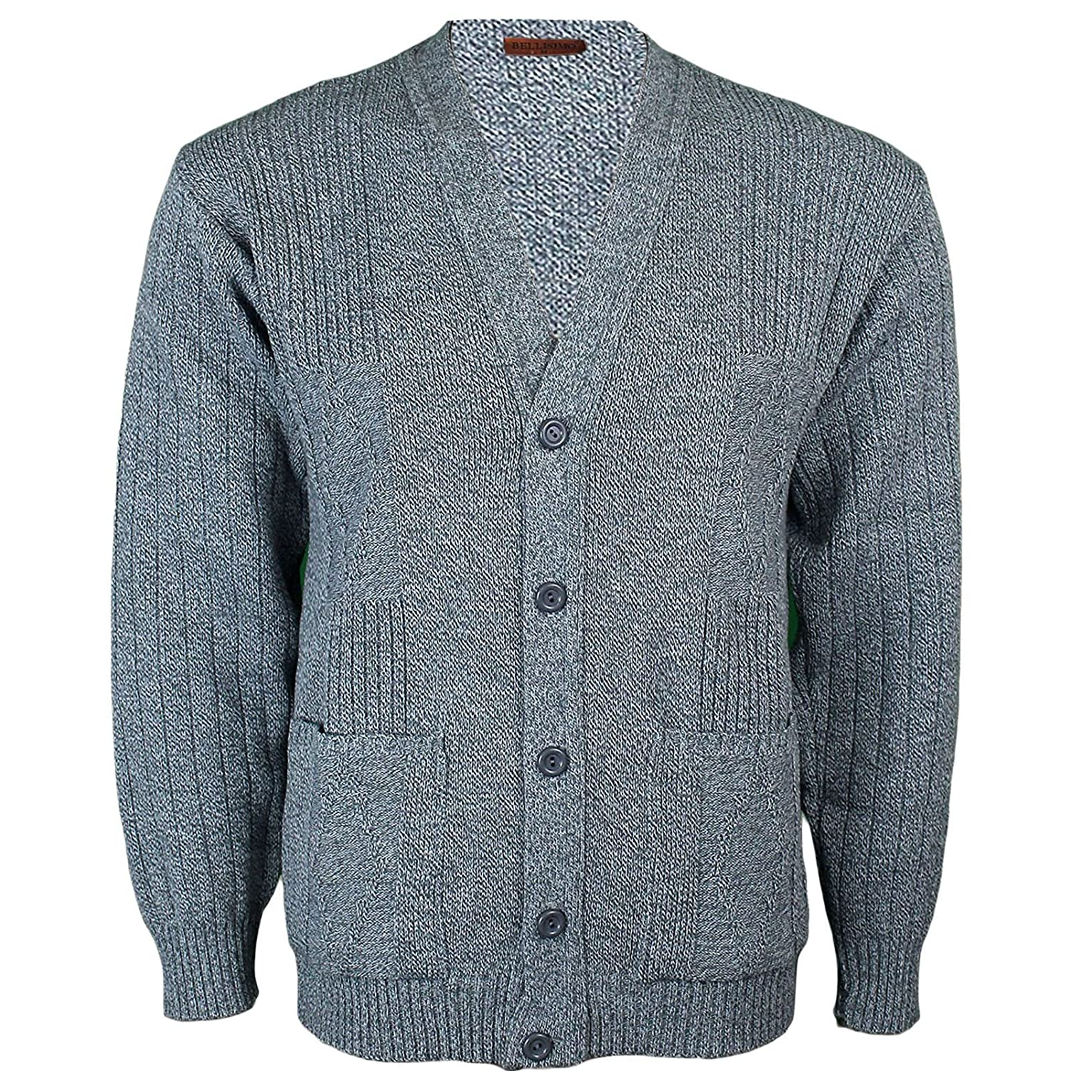 Mens Knitted Cardigan Classic Style V Neck Button WITH POCKETS ...