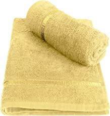 Story@Home 100% Cotton Soft Towel Set of 2 Pieces, 450 GSM - 2 Hand Towels - Lemon Yellow