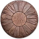 Poufs&Pillows Marokkaanse echt lederen poef - handgemaakt - gevuld geleverd - Ottoman, zitzak, voetenbank, puff (bruin)