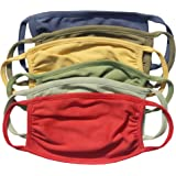 Nino Bambino 100% Organic Cotton For Kids Solid Reusable and Washable Anti Pollution Mask (Pack of 6), Multi-Color
