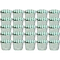 Cap+Cro To 82 Lot de 25 bocaux en verre pour conservation de confiture Couvercles verts à carreaux Capacité 230 ml
