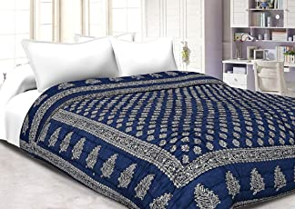 Mahadev handicrafts Jaipuri Razai/Rajai Dark Blue Single Bed Cotton Rajasthani Sanganeri Floral Print Quilt Blanket (Dark Blue, 82 Inches X 55 Inches)