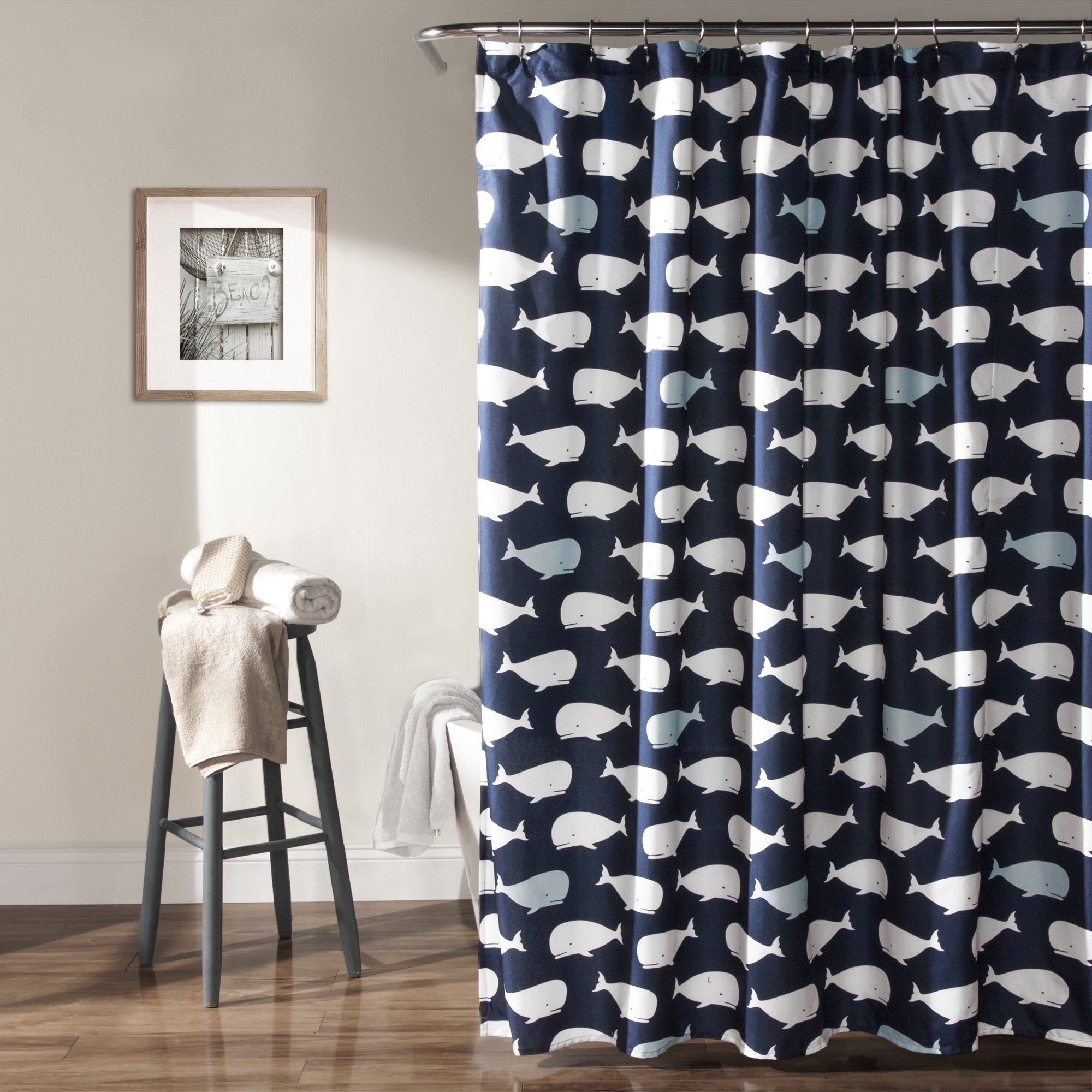 Lush Decor Whale Shower Curtain, 72 x 72, Navy