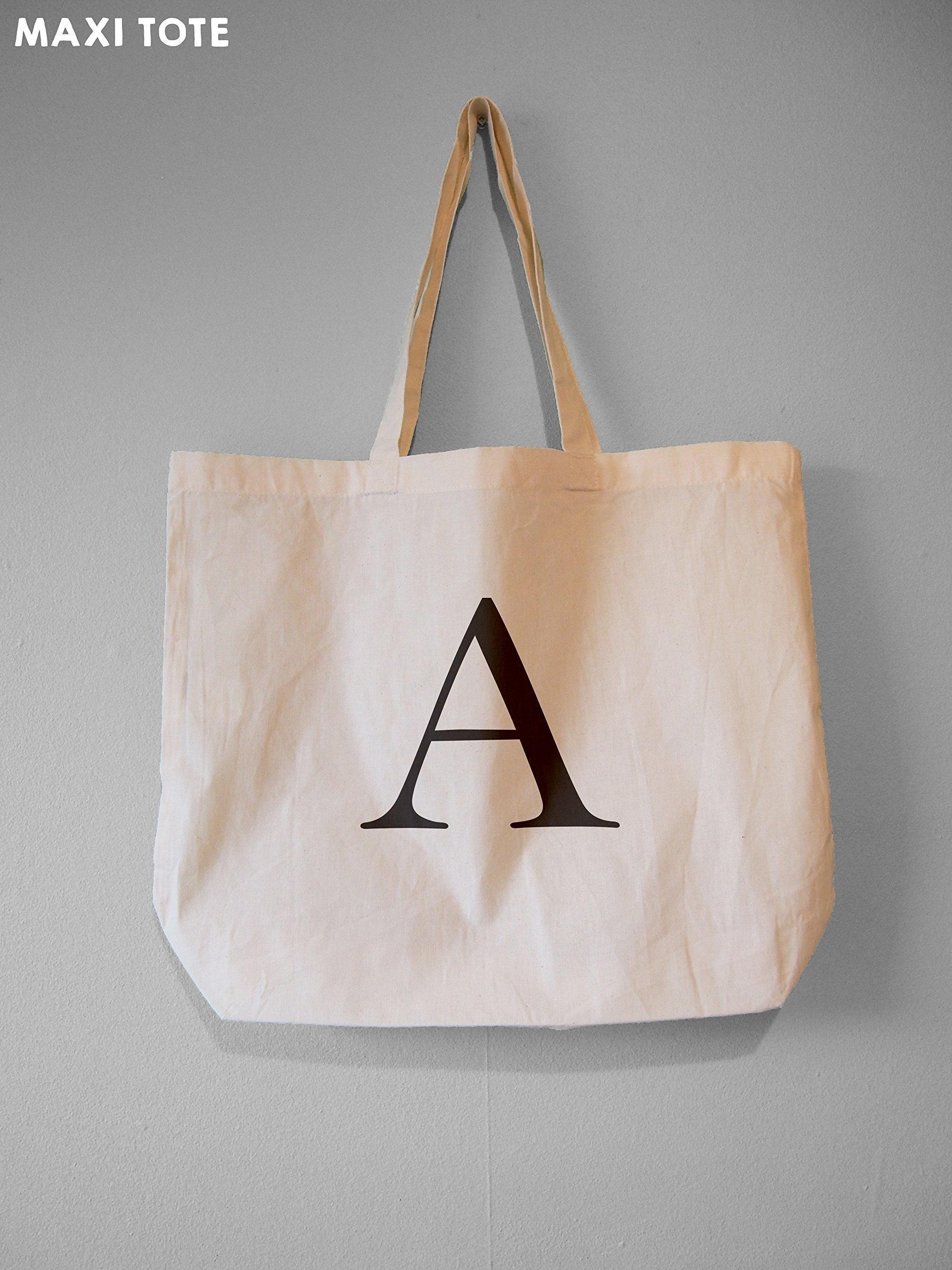 Monogram Tote, Alphabet Bag, Choose Your Letter - Natural Cotton Tote Bag - handmade-bags