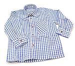 Trachtenhemd für Kinder, Blau, Kariert Langarm, 100 % Baumwolle, Kentkragen, Hochkrempelbare Ärme
