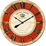 Alice's Collection -Extra Large Vintage Round Wooden Wall Clock From MDF – Shabby Chic Style Clock Suitable for Living Room Kitchen & Bedroom -Giant Wall Clock -80cm Clock- Grand Hotel