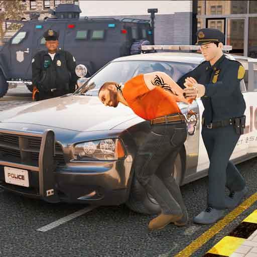 virtueller Polizeibeamter-Simulator: glückliches Familienspiel
