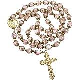 Nazareth Store Perle di cristallo rosa cattolico Collana con rosario in oro Fiori con perline Collana con medaglione del cuor