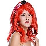 PetHot Pelucas Disfraces Sirena Ariel Rojo Peluca Larga 80cm ...