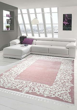 Designer Teppich Moderner Wollteppich Bordure Design Mit Fransen Wohnzimmer Rosa Creme Grosse 120x170 Cm Amazonde Kuche Haushalt