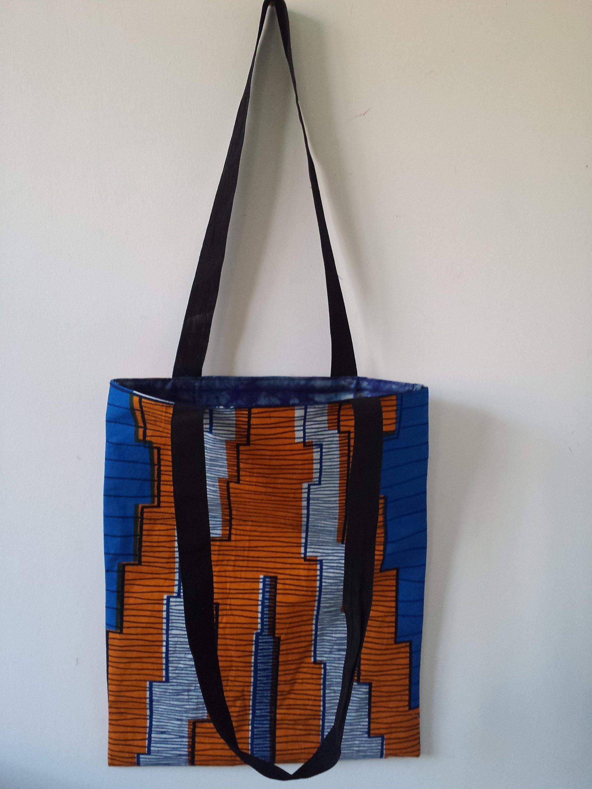 Ankara African Wax print Tote Shopper Bag - handmade-bags