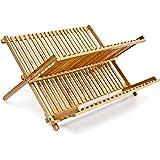 Relaxdays 10014073 Égouttoir à Vaisselle en bois CROSS HxlxP: 24,5 x 42 x 33 cm 2 Niveaux Pliant Bambou couverts cuisine…