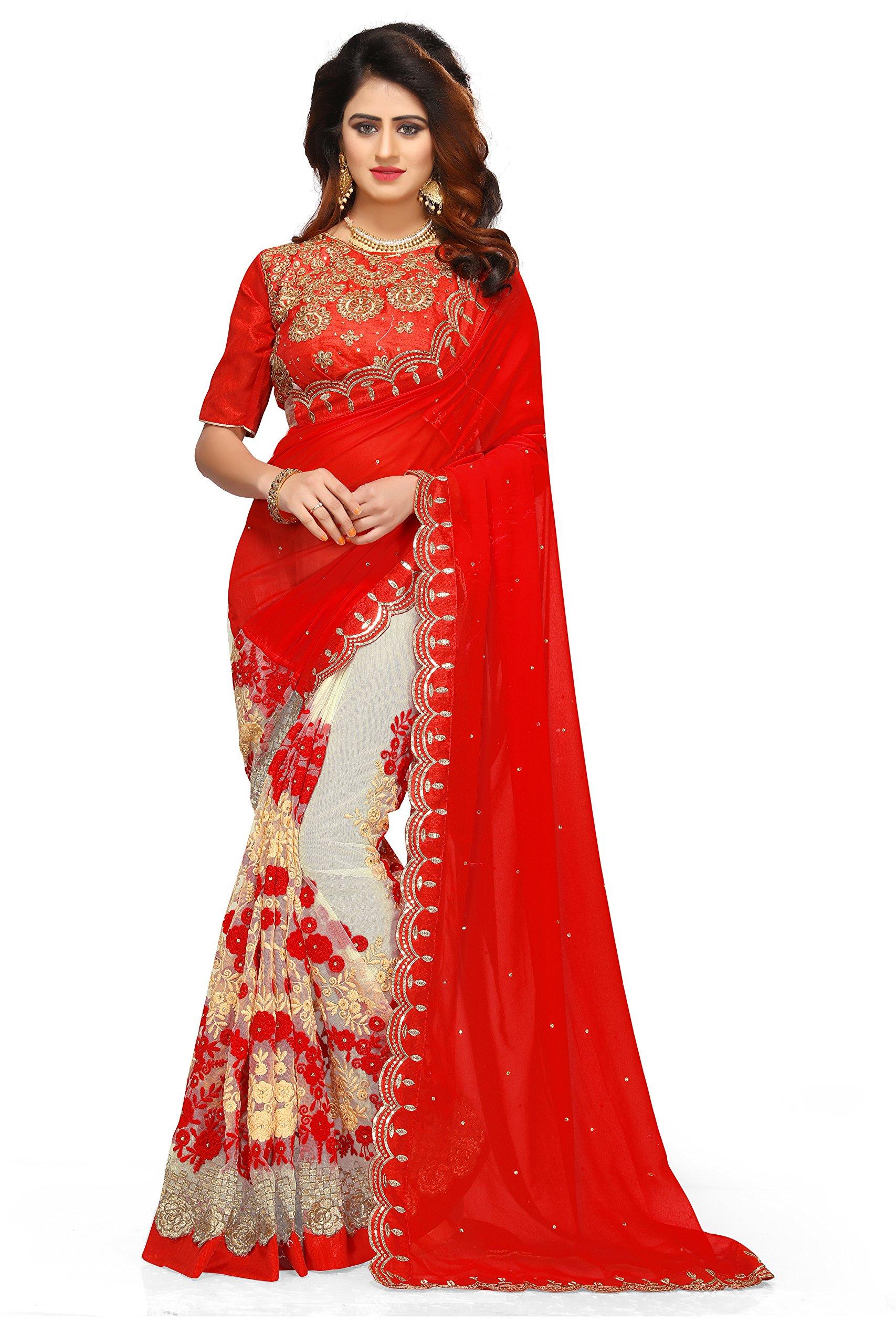 9e5711df5f I-Brand Women's Georgette & Mono Net & Banglori Silk Fabric Saree With  Blouse Piece (Orange_FREESIZE)