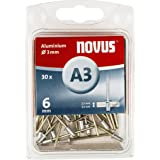 Novus Aluminium klinknagels met 6 mm lengte, 30 klinknagels, Ø 3 mm, 2,5-3,5 mm klemlengte, voor non-ijzer metaal, kunststof