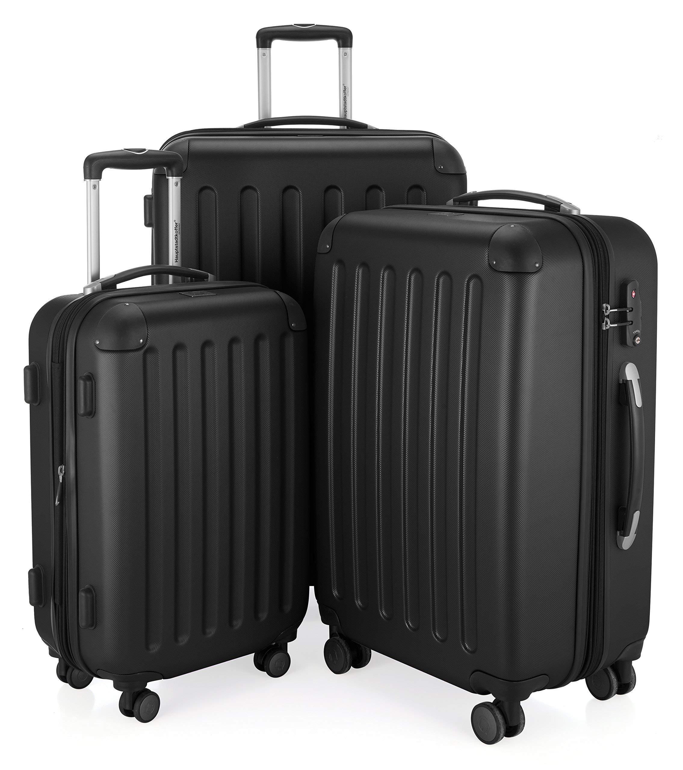 HAUPTSTADTKOFFER-Spree-3er-Koffer-Set-Trolley-Set-Rollkoffer-Reisekoffer-Erweiterbar-TSA-4-Rollen-S-M-L-Schwarz
