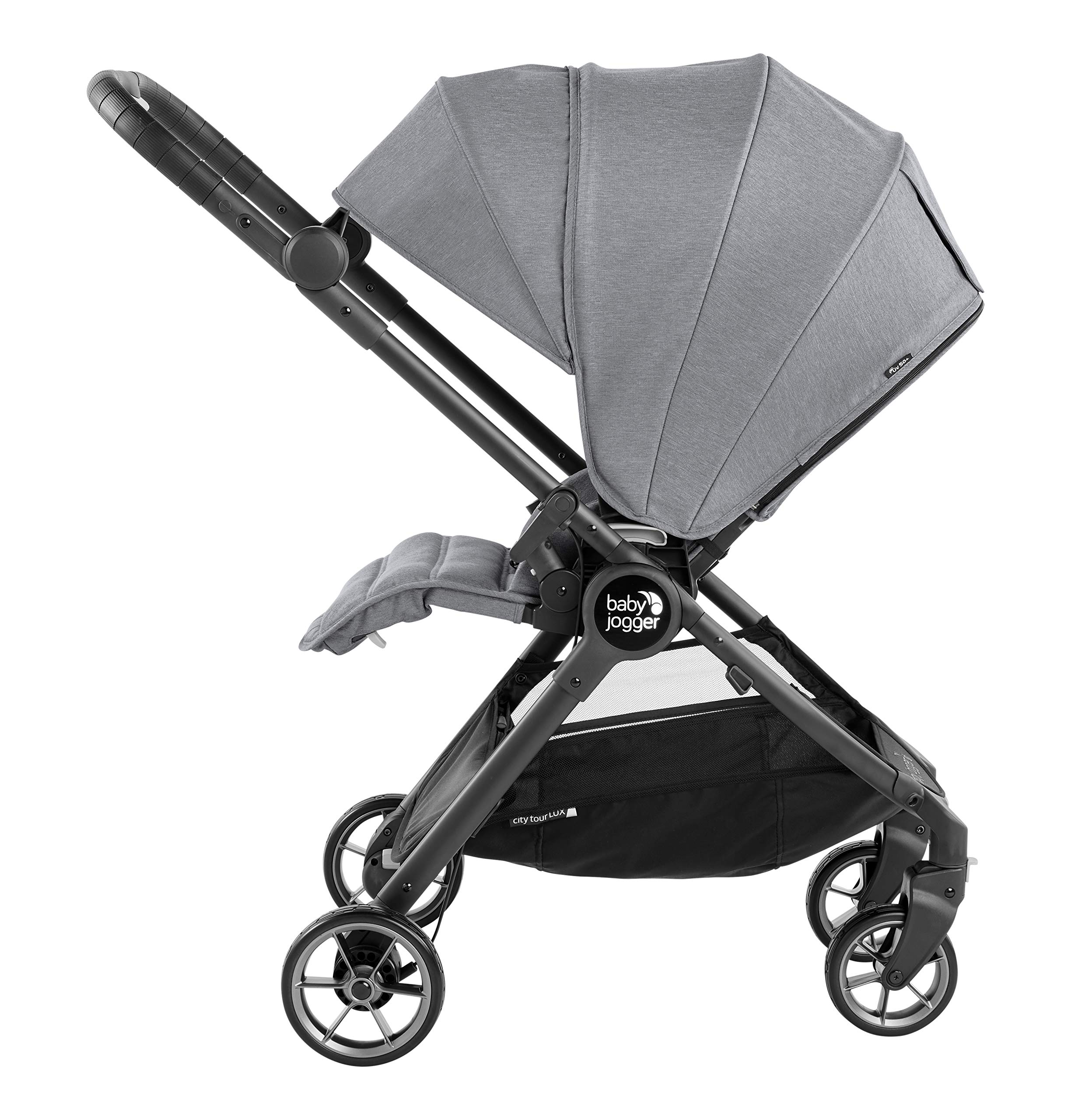 Baby Jogger City Tour LUX Compact Fold Reversible Stroller, Slate Baby Jogger The city tour lux and has a reversible from-birth seat unit for rear or forward travel Features an ultra-compact one hand fold and auto-lock when folded, allowing you to fold and go quickly. includes a carry bag and integrated carry strap a for easy transport With a flip flop friendly hand brake, lightweight and durable pu tyres and all wheel suspension to help keep mum and baby comfortable on many terrains 4