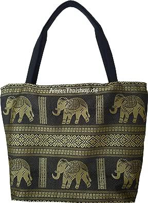 Henkeltasche aus Baumwolle mit Elefanten Muster von Ariyas Thaishop