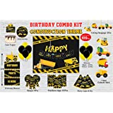 WoW Party Studio Construction Theme Birthday Party Decorations Supplies - Combo Kit #1 (100 Pcs)