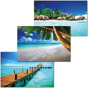 GREAT ART Set di 3 Poster XXL - Luoghi di Vacanza da Sogno - Palme Spiaggia delle Seychelles Molo in Mare Oceano Caraibico Decorazione d'Interni Murale Manifesti cadauno 140 x 100 cm
