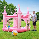 Teamson Kids Giardino Piscina Gonfiabile Castello Rosa per Bambini TK-48271P-UK/EU
