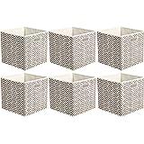 Amazon Basics Lot de 6 cubes de rangement pliables en tissu avec œillets ovales Chevrons taupe
