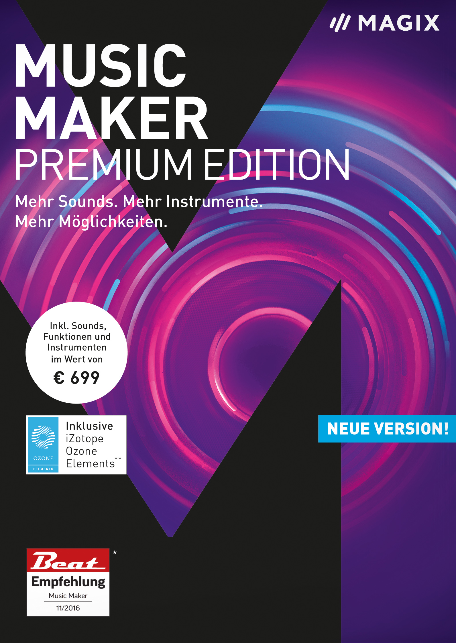 MAGIX Music Maker - 2018 Premium Edition - Die Audiosoftware mit mehr Sounds, Instrumenten und Möglichkeiten [Download] (Software Komponieren Musik)
