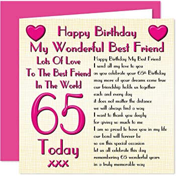 Best Friend 65th Happy Birthday Card