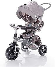 ZOPA Kinderdreirad citiGO - Kinderwagen Dreirad mit Elternlenkung und Ablagekorb - klappbares und abnehmbares Sonnendach, Sicherheitsgurte und Pedalverriegelung durch Knopfdruck - für Kinder von 10 Monaten bis 3 Jahren - mitwachsend (Pearl Grey)