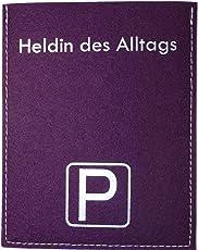 Metz Parkscheibenhülle inkl. Parkscheibe mit Aufschrift - Heldin des Alltags Filzfarbe violett, Flockfarbe Silber