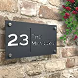 Notting Hill House Sign Personalised House Number with Street Name Modern Design.