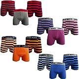 URBAN BOYZ Mens Plain Striped Boxer Trunks Boxer Shorts Cotton Underwear 6/12 Pairs S-XL