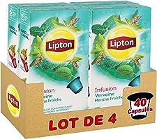 Lipton Infusion Aromatisée Verveine Menthe Fraîche 40 Capsules Compatibles Nespresso (Lot de 4x10 Capsules)