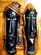 Wall Hanging Faces (Male &Female) ITerracotta Handmade and Washable I Faces with a Hook Wall Hanging I Decorative in Living Room/Entrance Lobby I Size 35 H X 12 W cm