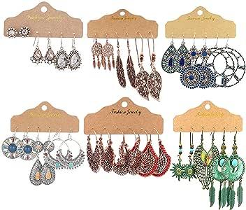 GOTONE 15 paires Boucles doreilles boh/ème Strass r/étro vintage Boucles doreilles pendants Boucles doreilles Boho pour les femmes filles fournitures