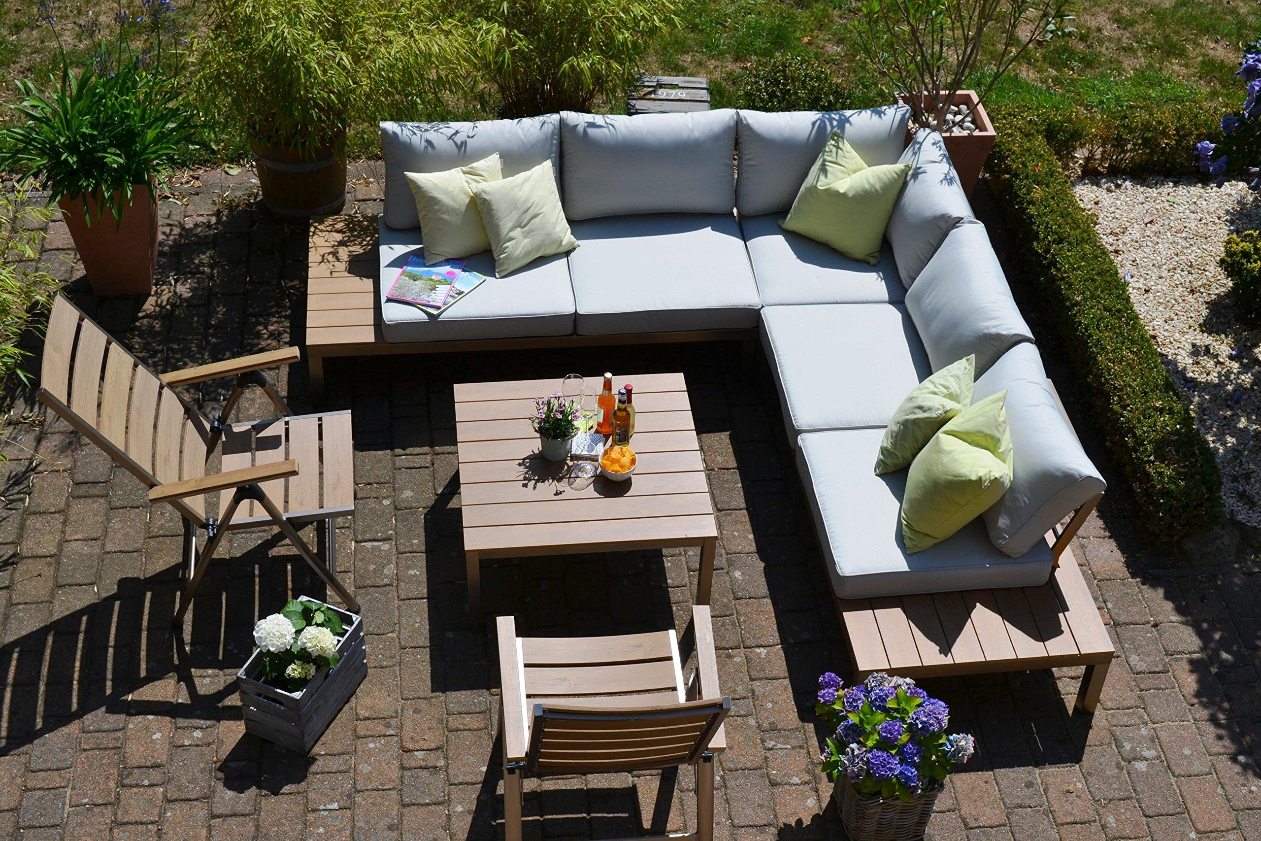 Bomey Lounge Set I Gartenmobel Orlando 4 Teilig I Edelstahlbeschichtete Alu Essgarnitur I Sitzgruppe Im Teak Holzdekor 2 Hochlehner Tisch