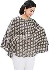 Mum's Caress Premium Cotton Nursing Cover - Brown Block Print