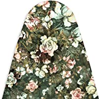 Encasa Homes Ironing Board Cover with 4mm Extra Thick Felt Pad for Steam Press - Green Roses - (Fits Standard Medium Boards of 112 x 33 cm) Elastic Fitting, Heat Reflective, Protective