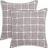 Amazon Brand - Umi Set di 2 Fodera Cuscini Divano Copricuscino per Letto Marrone Chiaro 45x45cm