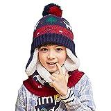 Azarxis Conjunto de Gorro y Bufanta Niños Invierno Térmicos Sombrero de Punto con Calentador de Cuello Forro Polar Para Niños