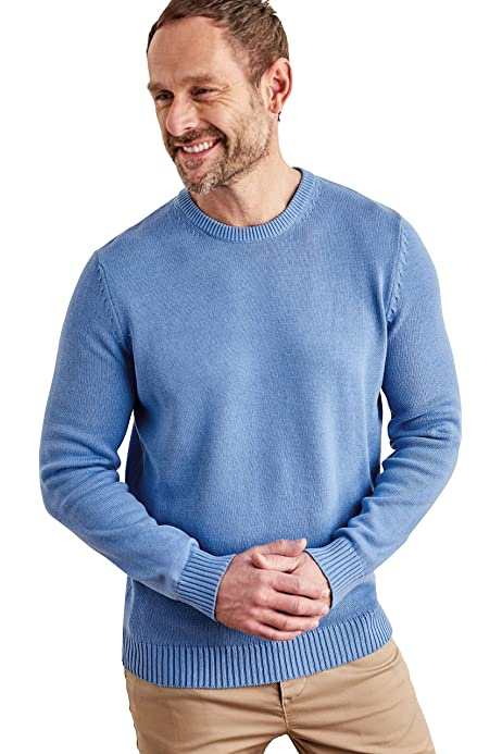 XL WoolOvers Mens 100/% Cotton Crew Neck Fine Knit Pullover Knitted Jumper Sweater Azalea
