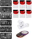 Store2508® Nail Stamping Kit SET E With 6 Rectangular Image Plates, Clear Jelly 3.8 Cm Stamper& Scraper, Nail Art Tip…
