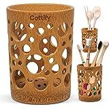 Porte brosses à Dents de Salle de Bains en Bambou de qualité, Gobelet avec Trous, Séchage Rapide, pour Brosses à Dents, Pince