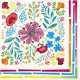 Talking Tables Lot de 20 Serviettes en Papier Motif Floral Bohème Décoration de Fête Elégante Festival Mariage Enterrement de
